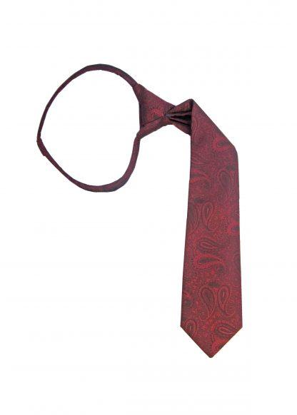 """14"""" Zip Burgundy Paisley Boy's Tie"""