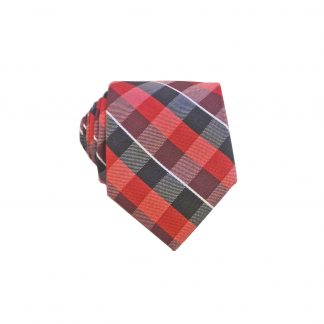 Red Black Criss Cross Men's Skinny Tie w/Pocket Square