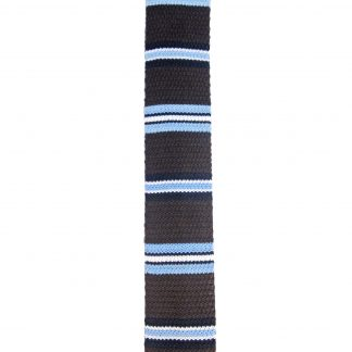 Brown Light Blue Stripe Knit Men's Tie