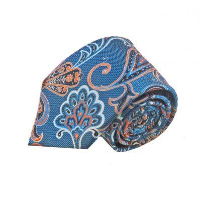 Blue Orange Floral Men's Tie w/Pocket Square