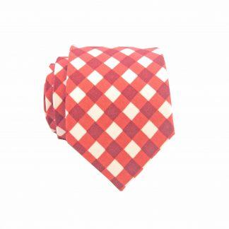 Medium Red, White Check Cotton Men's Skinny Tie