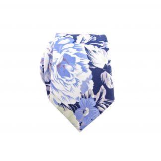 Navy Hawaiian Floral Cotton Men's Skinny Tie