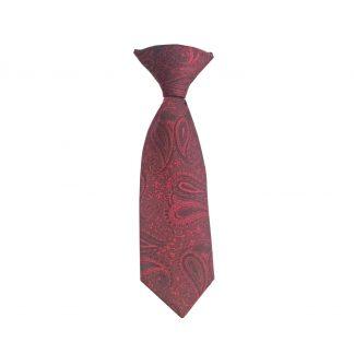 "8"" Clip Burgundy Paisley Boy's Tie"