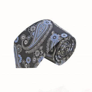 Black Blue Paisley Tie and Pocket Square Set