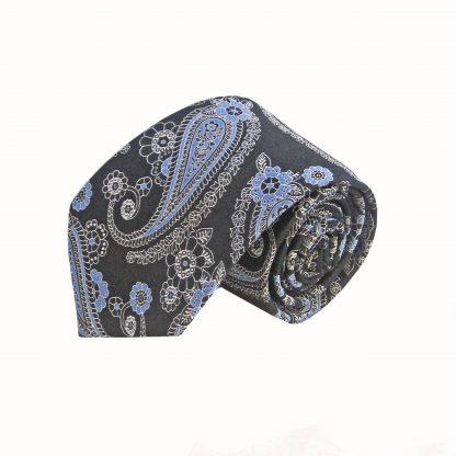 Black Blue Paisley Tie and Pocket Square Set