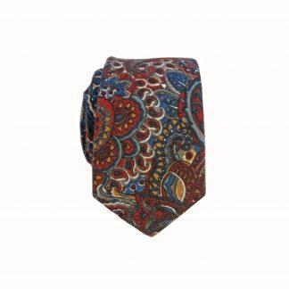 Rust Blue Paisley Cotton Men's Skinny Tie
