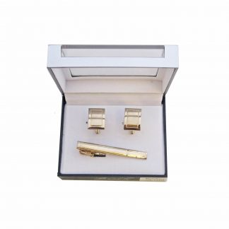 Gold Solid Rectangle Tie Bar and Cufflink Set