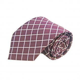 Burgundy Grey Criss Cross Men's Tie