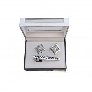 Silver w/ Stones Tie Bar and Cufflink Set
