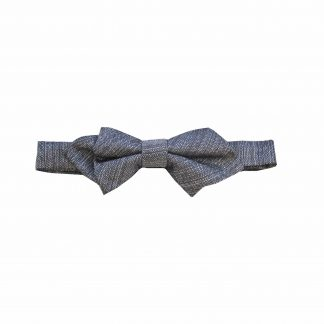 Charcoal Muted Texture Pointed Banded Bow Tie