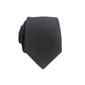 Black Solid Cotton Men's Skinny Tie
