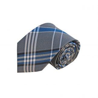 Gray Blue Plaid Silk Men's Tie