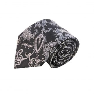 Black Gray Floral Men's Tie w/Pocket Square