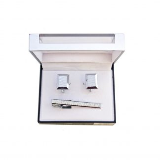 Silver Rectangle Tie Bar and Cufflink Set