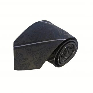 Black Paisley Stripe Men's Tie