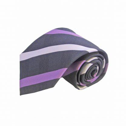 Black Purple Stripe Men's Tie w/Pocket Square