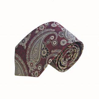 Burgundy Gray Paisley Tie and Pocket Square Set
