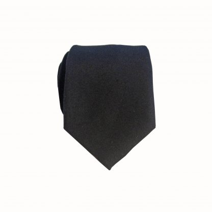 "49"" Boys Black Solid Cotton Tie"
