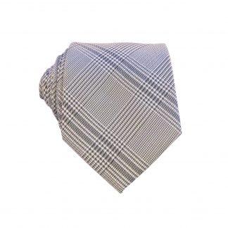 Grey Black Criss Cross Men's Skinny Tie w/Pocket Square