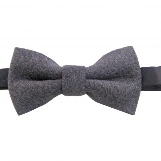 Charcoal Solid Wool Banded Bow Tie