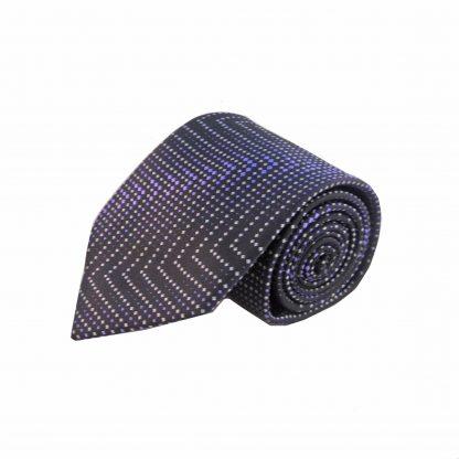 Purple Black Zigzag Men's Tie w/ Pocket Square