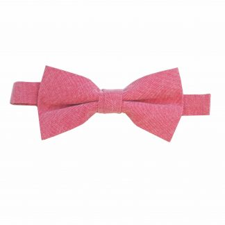 Red Solid Cotton Banded Bow Tie