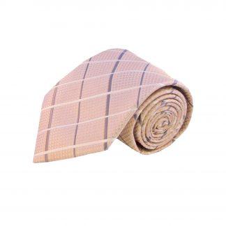 Nude Pink, Grey Criss Cross Men's Tie w/Pocket Square