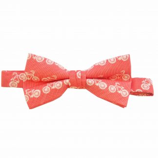 Salmon Cream Bicycle Banded Bow Tie