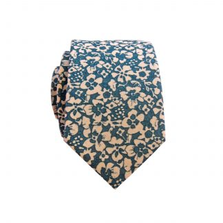 French Blue Cream Floral Men's Cotton Skinny Tie