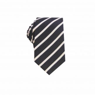 Black White Narrow Stripe Cotton Men's Skinny Tie