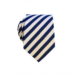 Navy White Narrow Stripe Men's Cotton Skinny Tie