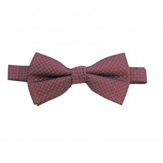 Burgundy Small Diamond Banded Bow Tie
