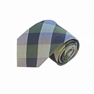 Green Navy Large Blocks Silk Men's Tie
