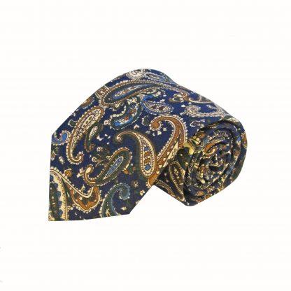 Navy Green Khaki Paisley Men's Cotton Tie