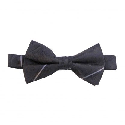 Black Paisley Stripe Banded Bow Tie