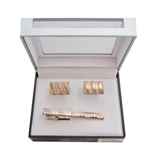 Gold Tone on Tone Tie Bar and Cufflink Set