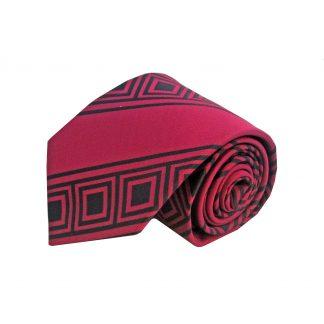 Red Black Geometric Stripe Men's Tie
