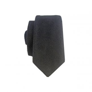 Black Solid Wool Men's Skinny Tie