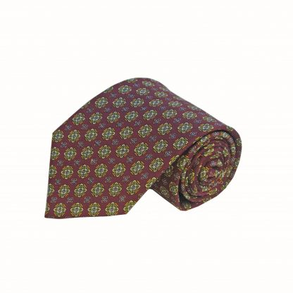 Burgundy Green Medallion Men's Tie