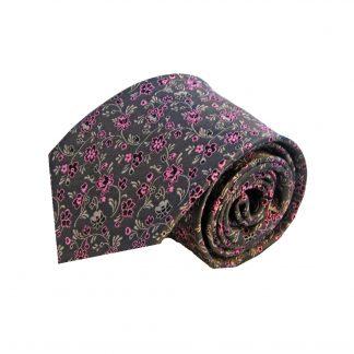 Charcoal Pink Floral Men's Silk Tie