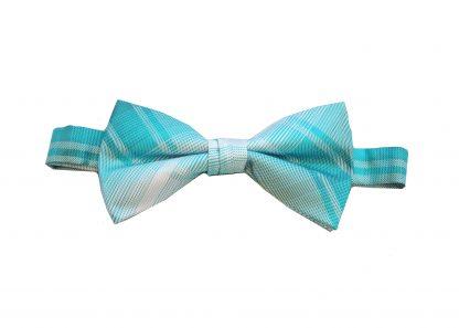 Aqua Criss Cross Banded Bow Tie 1767-0