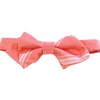 Salmon Tone on Tone Stripe Pointed Banded Bow Tie