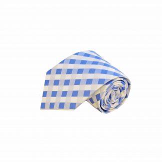 "63"" XL Blue White Criss Cross Men's Tie"