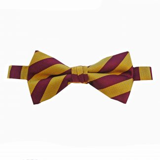 Gold Burgundy Stripe Banded Bow Tie