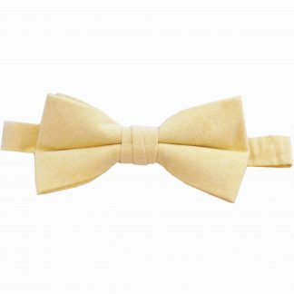 Light Yellow Solid Cotton Men's Banded Bow Tie 4497-0