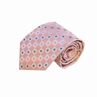 Pink, Silver Square Dot Men's Tie