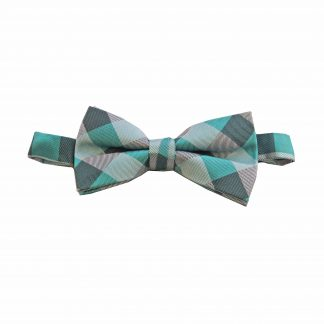 Tiffany Blue, Aqua Grid Banded Bow Tie 6054-0