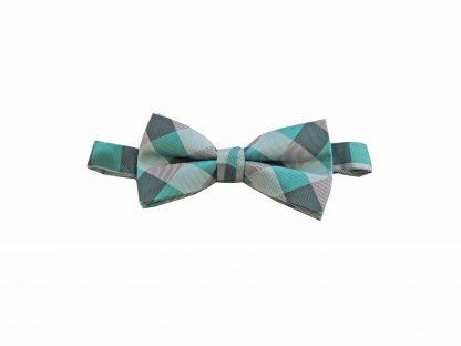 Tiffany Blue, Aqua Grid Banded Bow Tie 6054-0