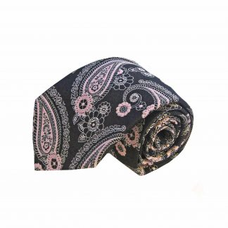 Pink Black Paisley Men's Tie and Pocket Square Set