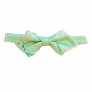 Mint Aqua Plaid Pointed Banded Bow Tie